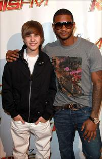 justin bieber and usher at the staples center